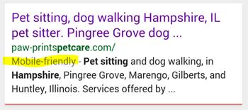 Google SERPs show mobile-friendly websites