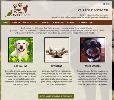 pet sitter website design