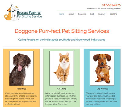 website design for pet sitter in Indianapolis