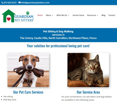 website for professional pet sitter in The Colony, TX
