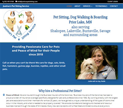 pet sitter web design for Minnesota pet sitter